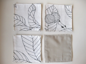 Four Squarish Fabric Coasters to rest my Coffee on