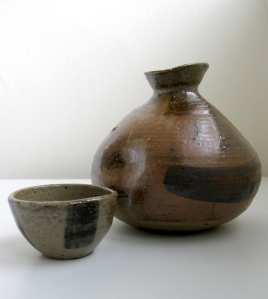 Sake Vessel and Cup with Tribal War Paint