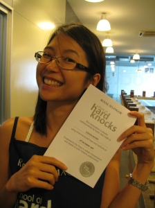 Mayne and her 'certificate'